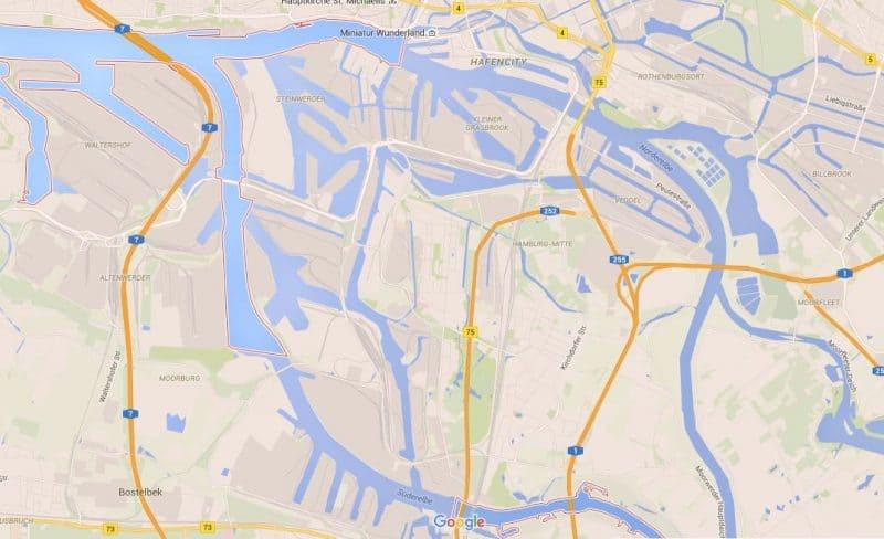 Hamburg canals Google maps view