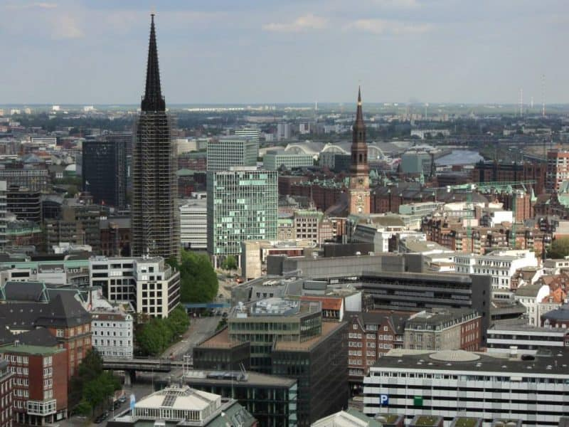 Hamburg city view from the top of the St. Michael church, Hamburg