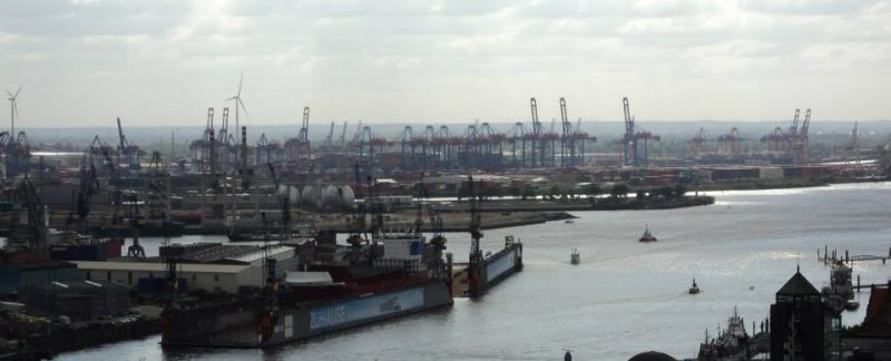 Hamburg port from a distance