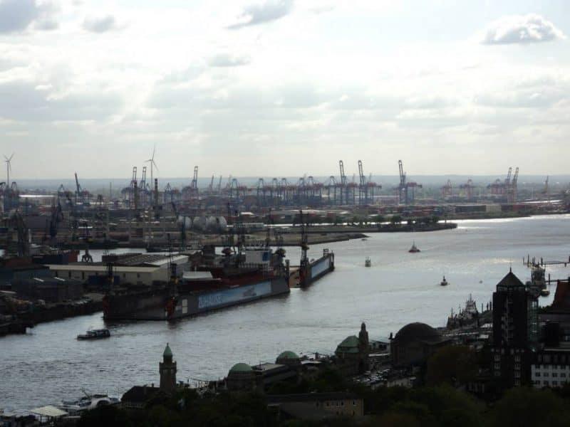 Hamburg port from a distance