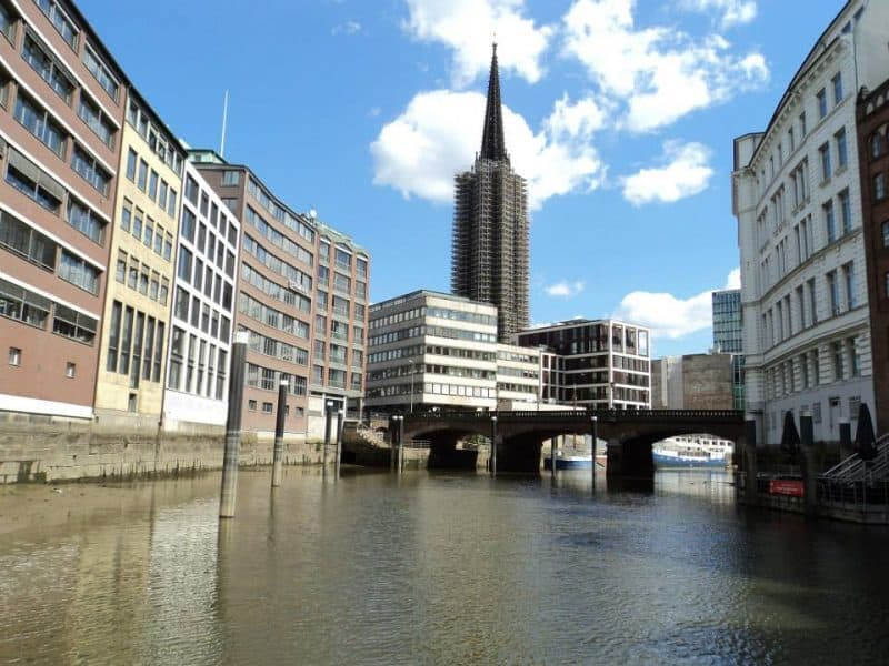 The contrast of old buildings and modern buildings in Hamburg