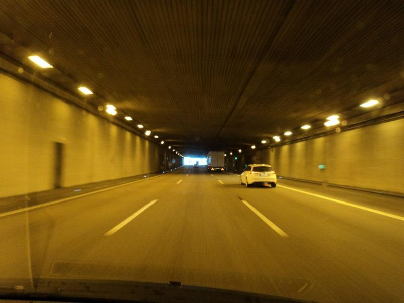 Autobahn crossing a tunnel