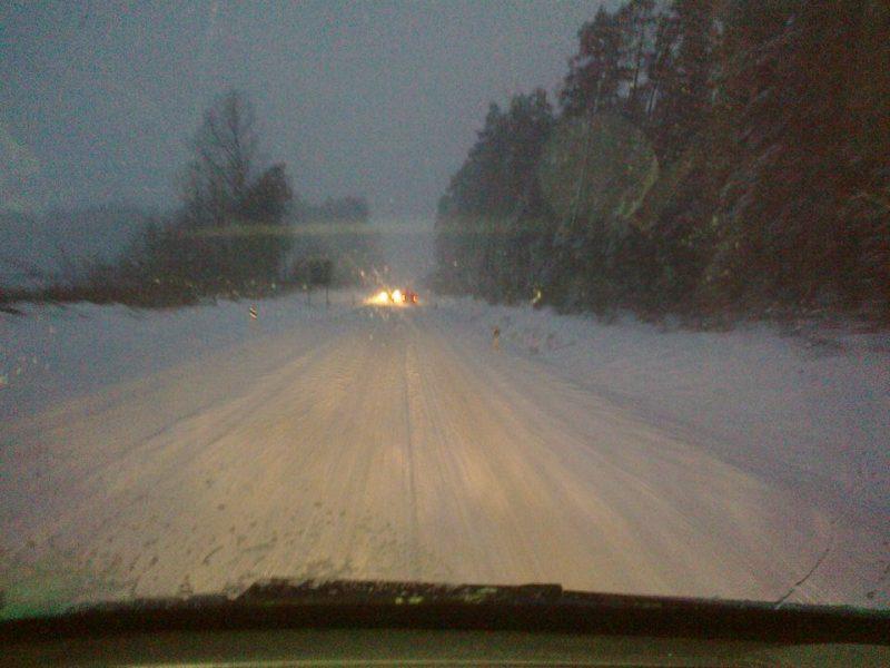 Autobahn during winter nights