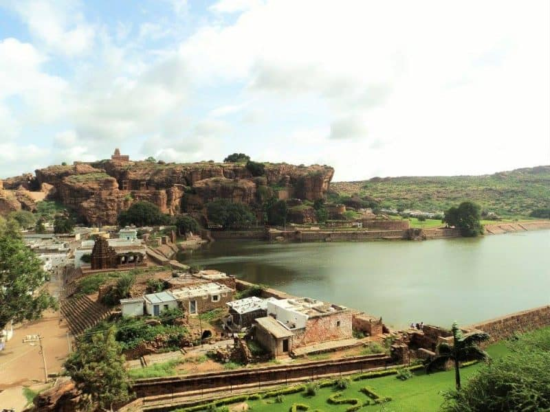Badami red sandstone and agastya lake
