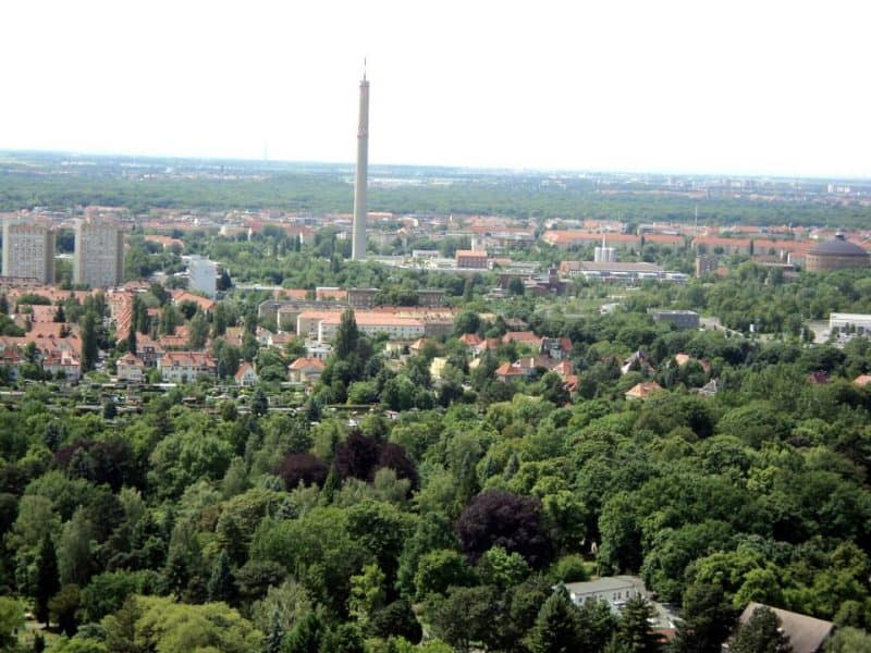 Leipzig city view from monument to battle of nations