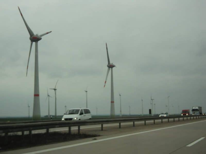Windmills along German autobahn
