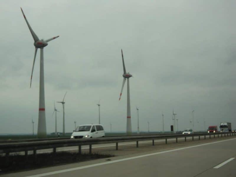 Windmills along German autobahn