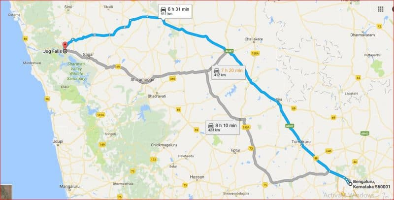 Bangalore to Jog falls by road