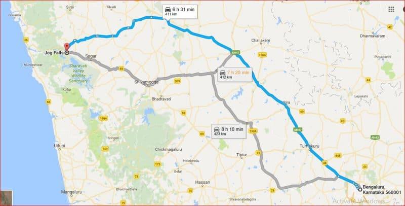 Bangalore to Jog falls by road