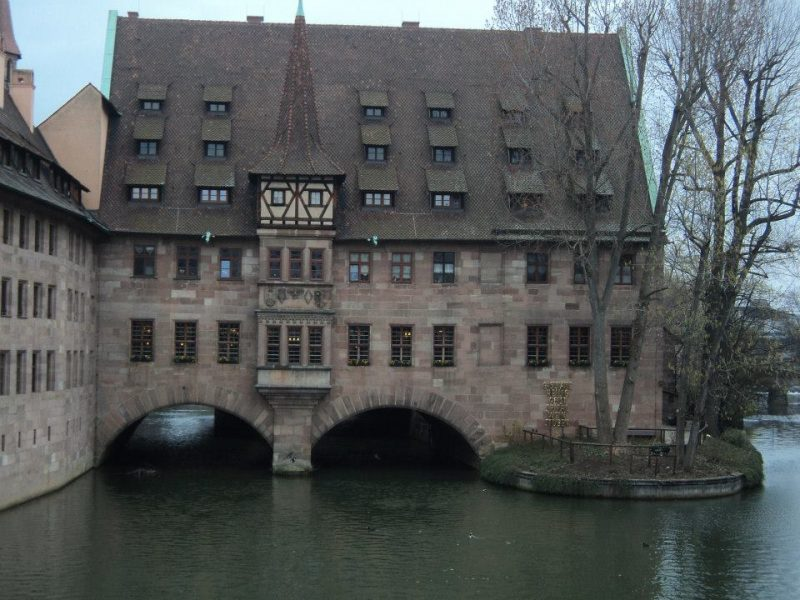 Nuremberg town hall and river pegnitz