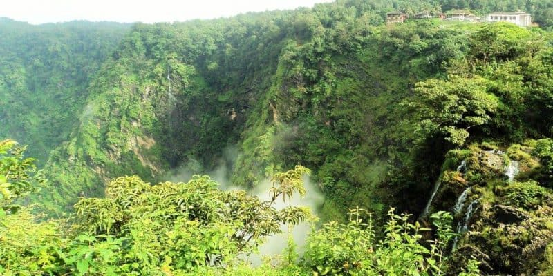 Panoramic view from Prakurthi Yatri nivas, Rani falls as seen in right