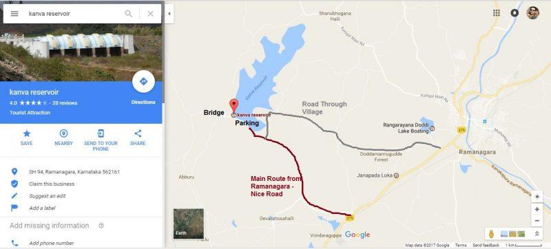 Kanva Reservoir Google Map and parking spots