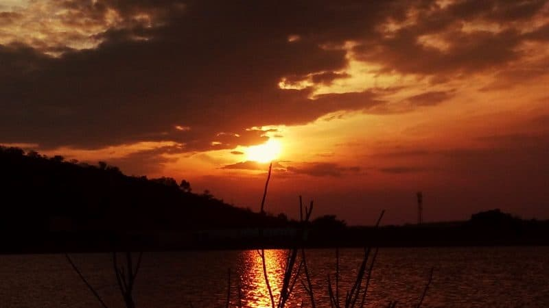 Kanva reservoir at sunset