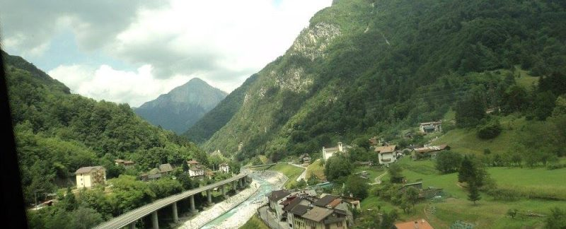 A highway, a small village and river mur in Alps