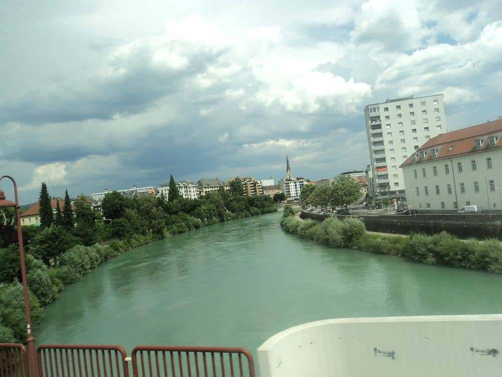 Drava river in Villach town