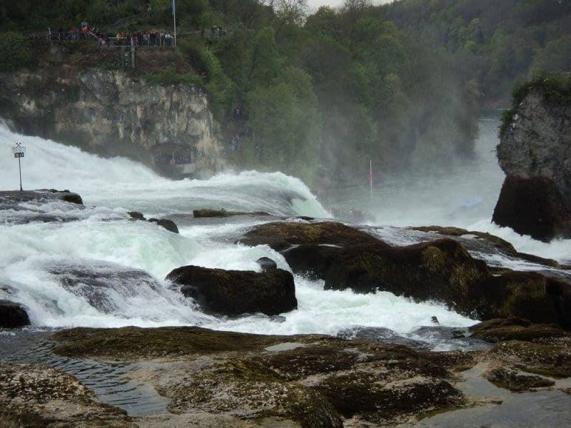 Rhine falls and water fog