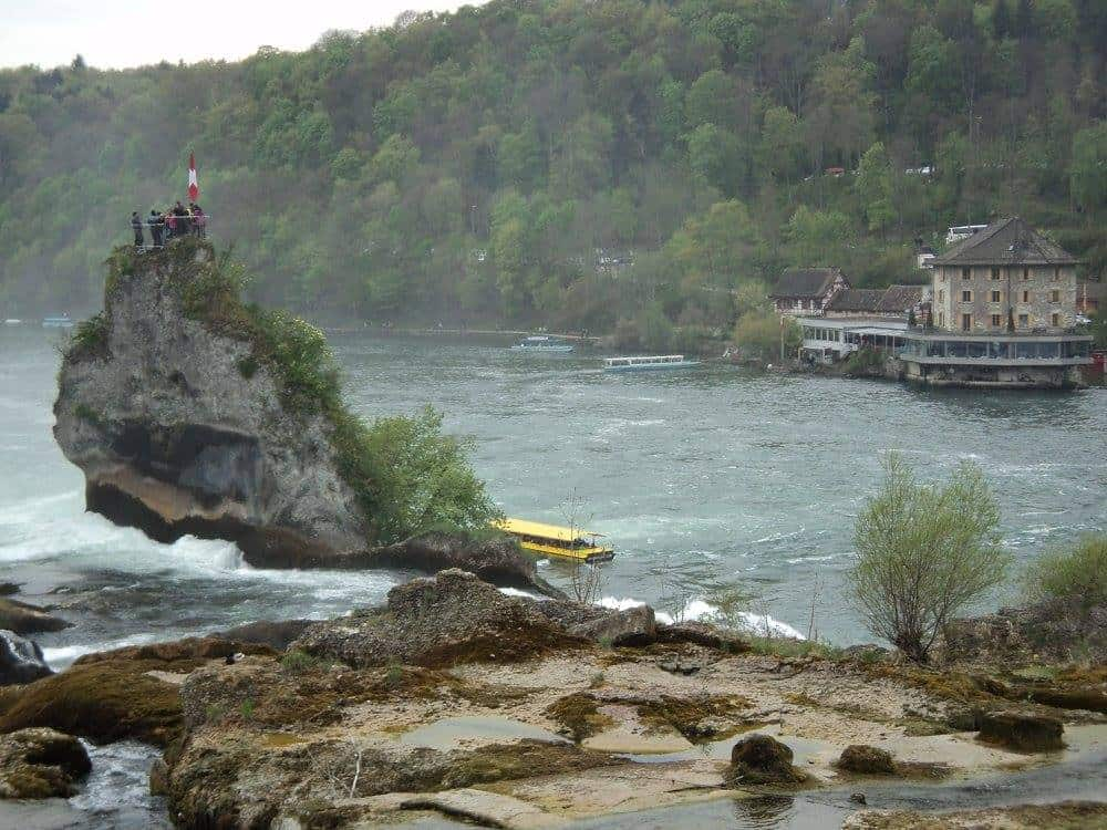 Rhine falls central viewpoint accessible only by boat