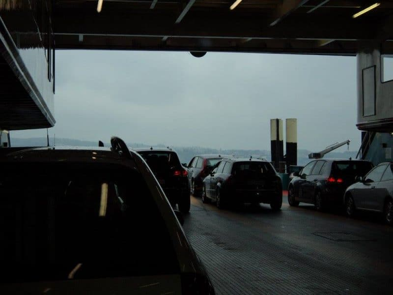 Vehicles on a ferry on lake constance