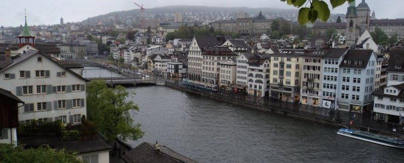 Zurich town view along river Limmat from Lindenhof hill