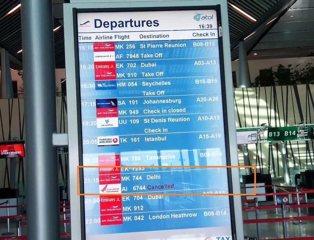 Air Mauritius flight cancelled