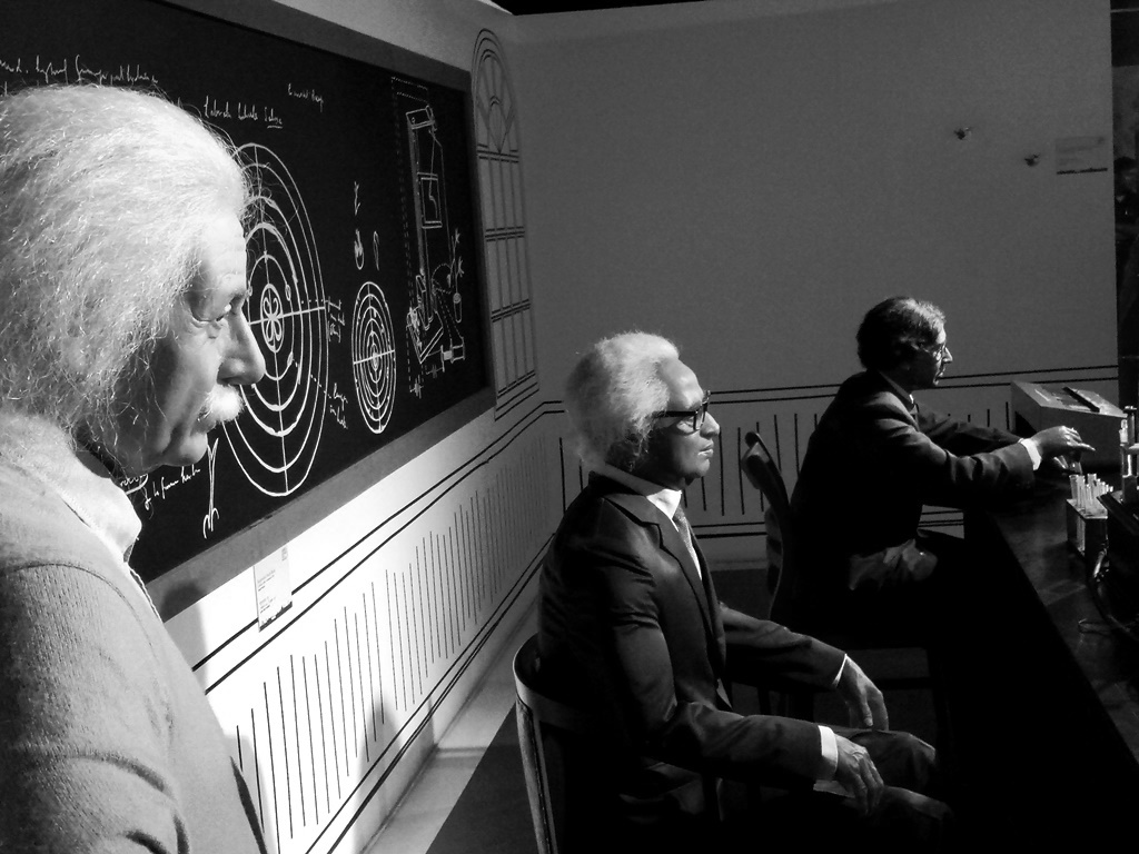 Einstein, SN Bose, JC Bose at Kolkata wax museum