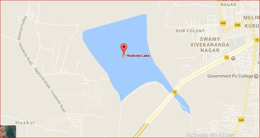 Hoskote lake Google map