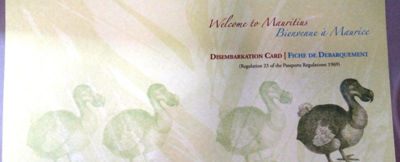 Mauritius Visa on Arrival card - Disembarkation Card