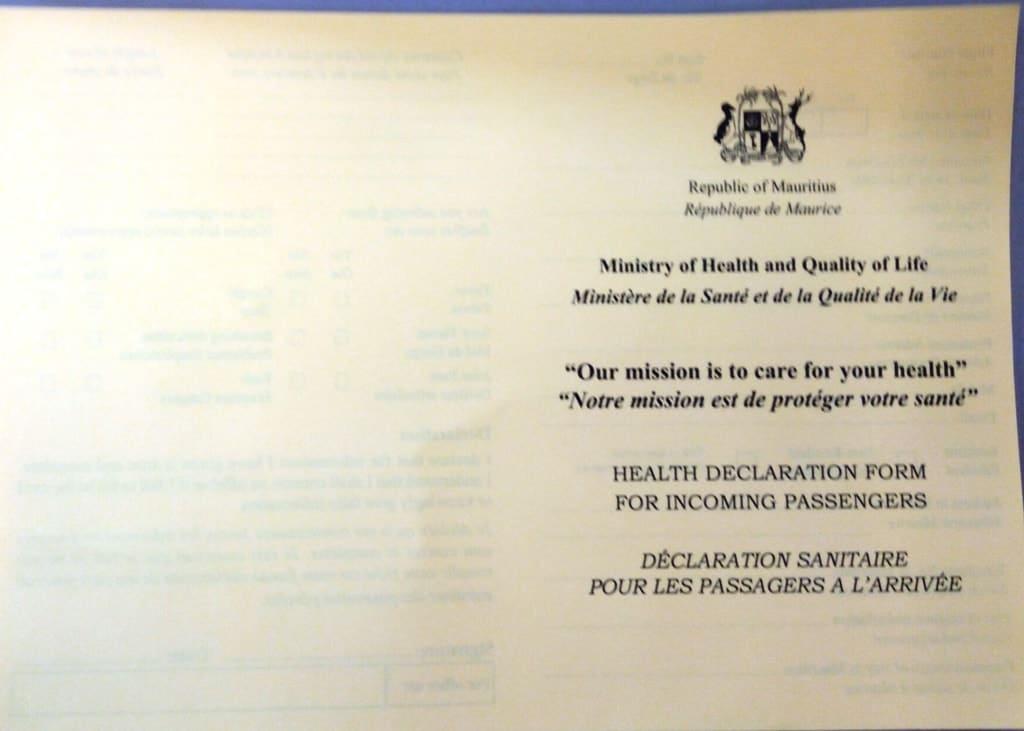 Mauritius health declaration form