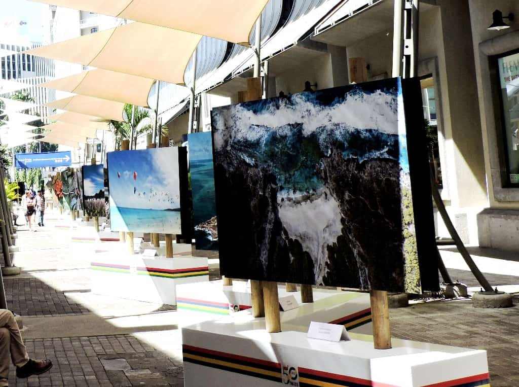 Paintings at display at Caudan Waterfront, Port Louis