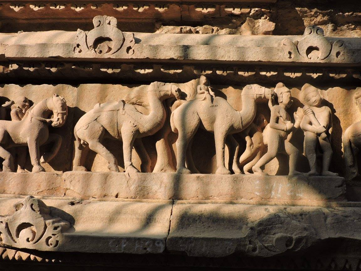 Camels depicted on Khajuraho temples