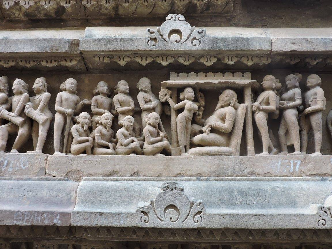 Kings court scene in Khajuraho