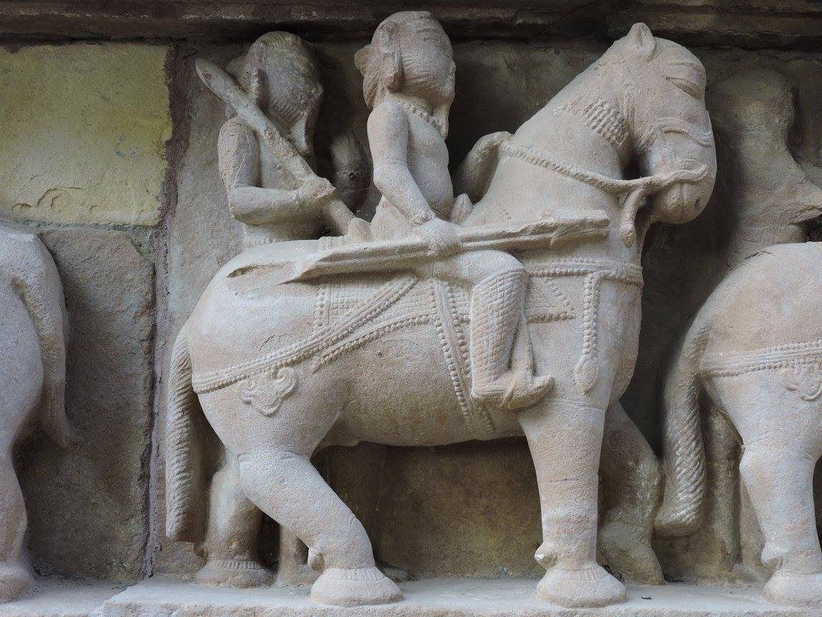 Statue of army and horse cavalery in Khajuraho
