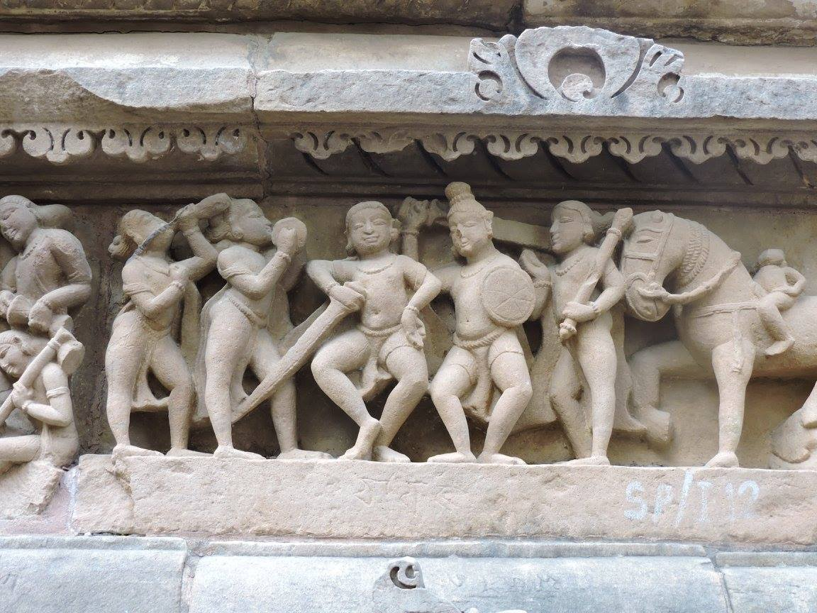 Statue of normal life in Khajuraho