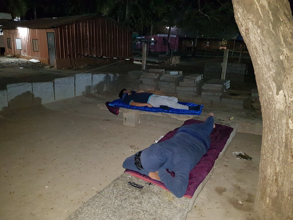 sleeping in the parking of Isha Yoga center in the morning