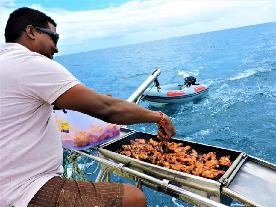 Grilled chicken barbecue on island trips in Mauritius