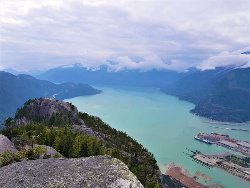 Stawamus lake from the second peak of the chief hike