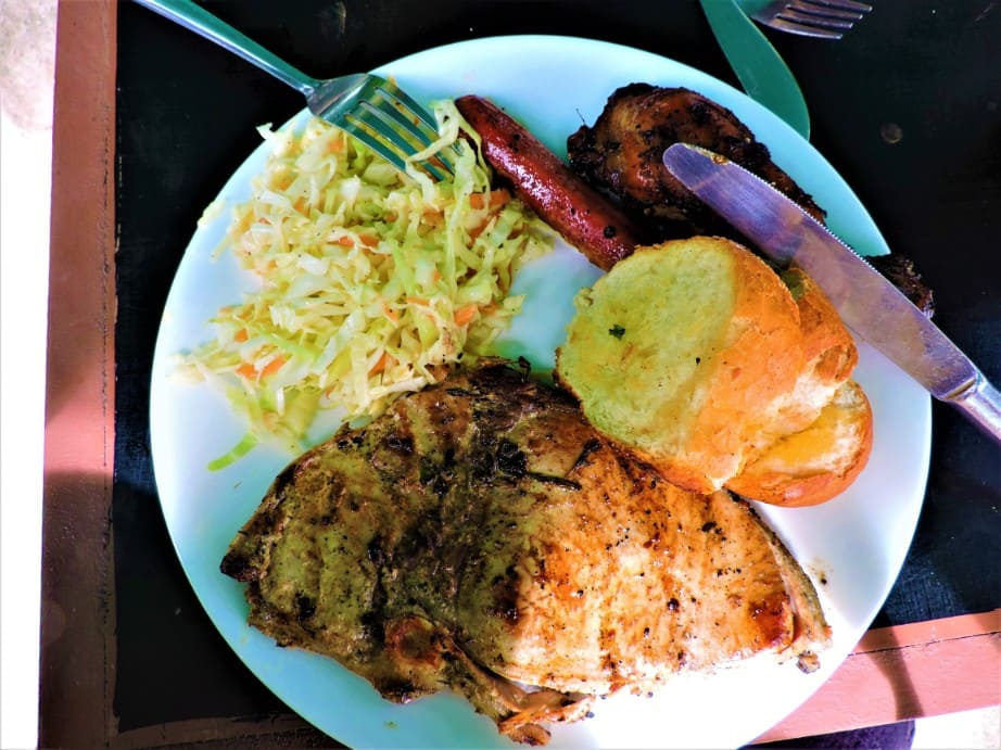barbecued meal on island tour in Mauritius