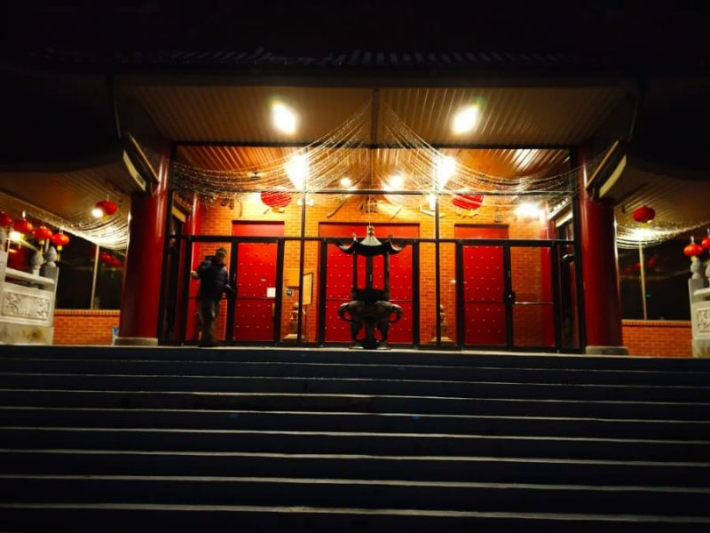 Outside Fo guang shan temple in evening