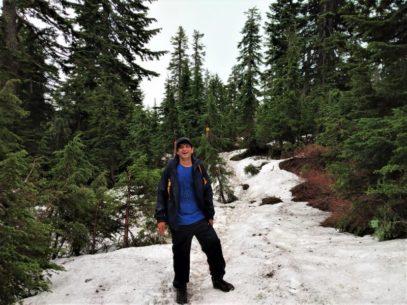 Snow in June near mount fromme peak