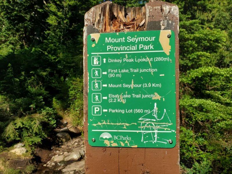 Dinkey Peak Loop Sign board at first junction on Mt Seymour Hike