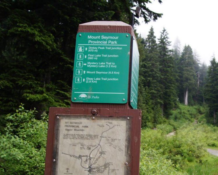 Mount Seymour Hiking Sign board