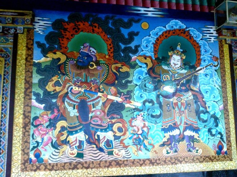A painting at the monastery, bylakuppe