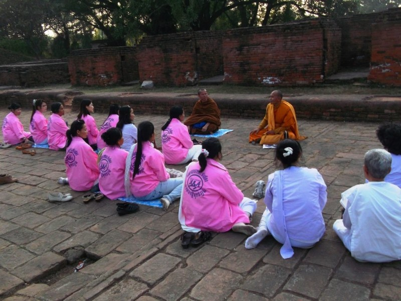 Buddhist practices at the ruins of the Nalanda university