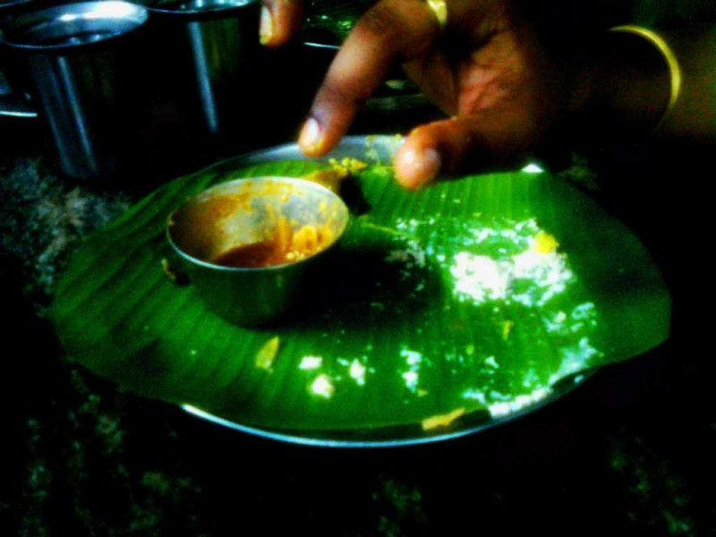 Eating on banana leaves