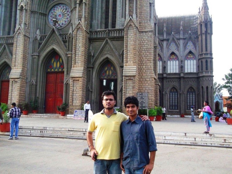 In front of the church
