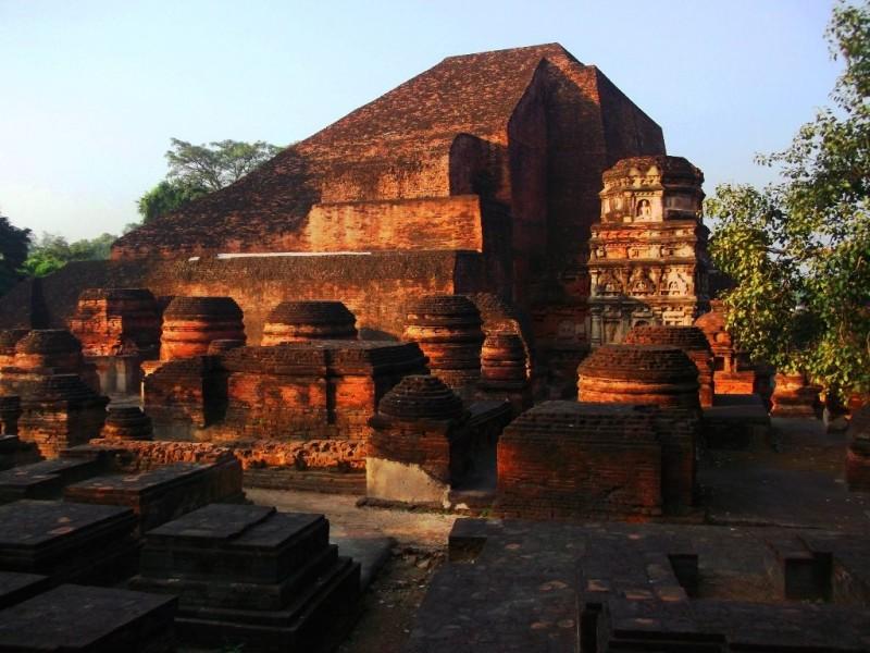Library and stupas of Nalanda university