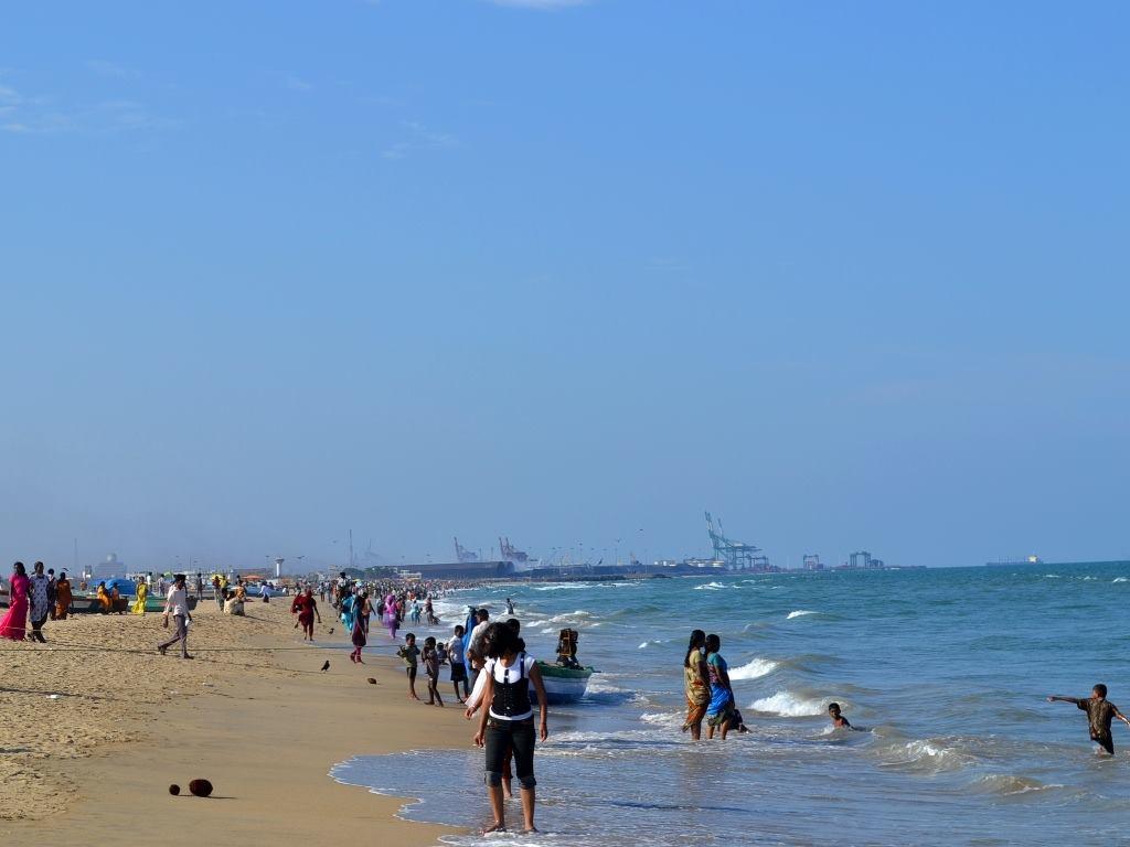 Marina beach and Chennai port in the background