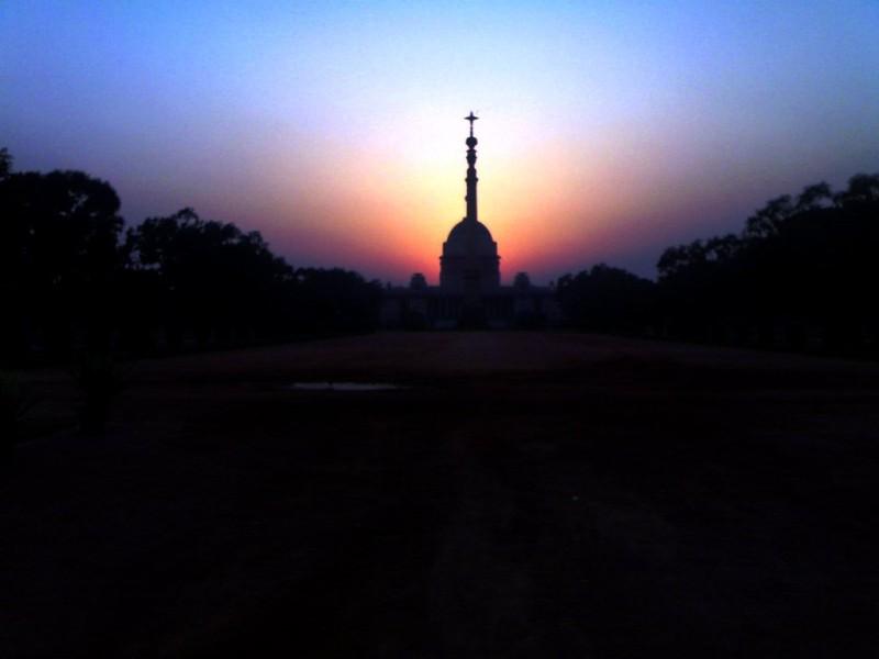 Rashtrapati Bhavan at sunset