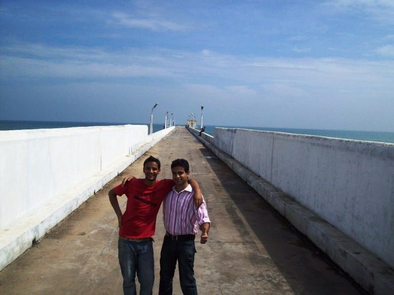 on Pondicherry naval dockyard harbour