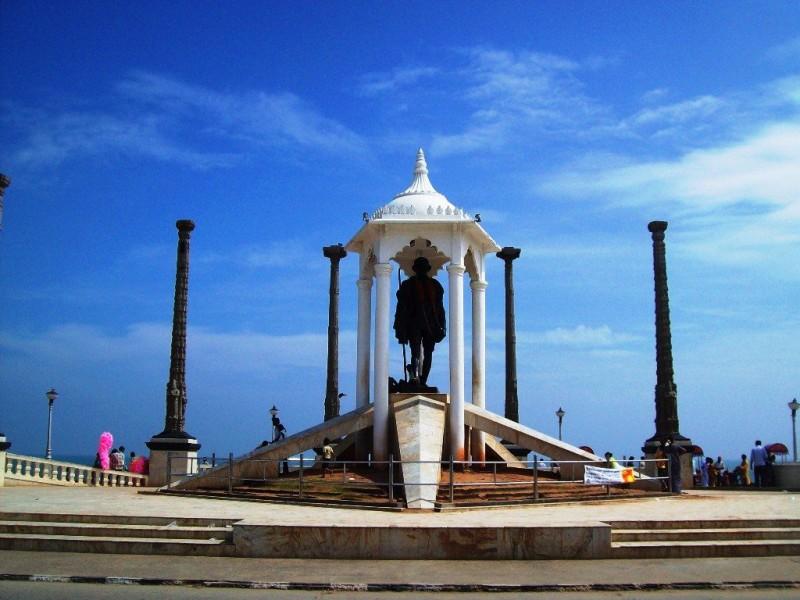 statue of Gandhi Jee at Gandhi Beach, Pondicherry